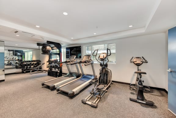 Fitness center with cardio equipment, TVs and weights available.