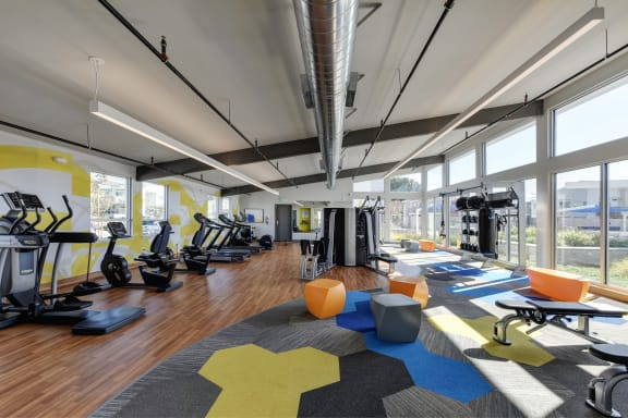 Gym with Hardwood Floor, Treadmills, Excercise Bike, Weight Machines, Full Windows with View of Exterior