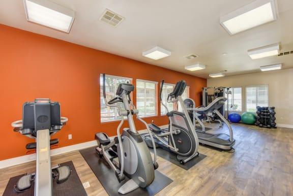 Fitness Center with Orange Walls, Ellipticals, Treadmills, Yoga Balls and Hardwood Inspired Floors