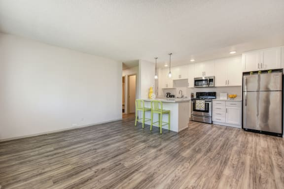 2x1 floor plan with Harwood inspired flooring through out the living room and kitchen areas.