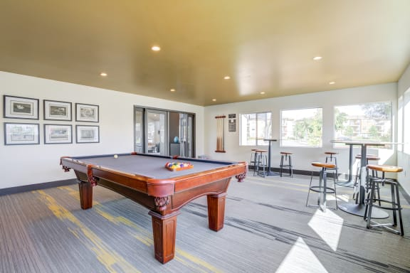 Community Clubhouse billiards table and game room area.