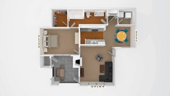 1 Bedroom Floor Plan A3 at Stoneleigh on Cartwright Apartments, J Street Property Services, Mesquite, 75180