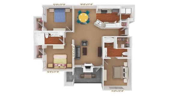 3 Bedroom Floor Plan at Stoneleigh on Cartwright Apartments, J Street Property Services, Mesquite, Texas