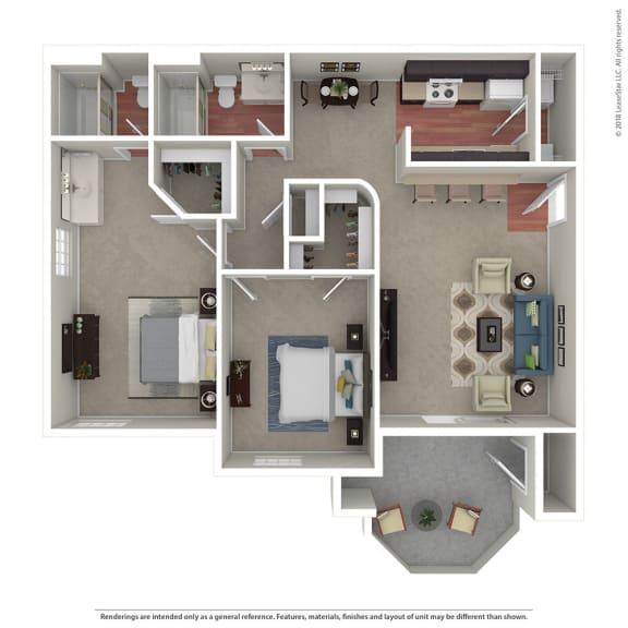 Large 2 Bedroom / 2 Bath Floor Plan at The Hills at Quail Run, Riverside, California