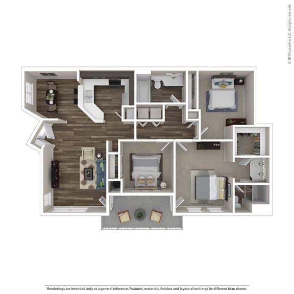3 Bed, 2 Bath Floor Plan at Renaissance Apartment Homes, Santa Rosa, CA, 95404