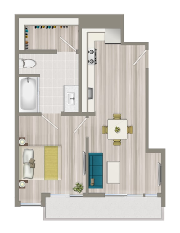 Floor Plan  Furnished One Bedroom Deluxe Boutique Suite EB
