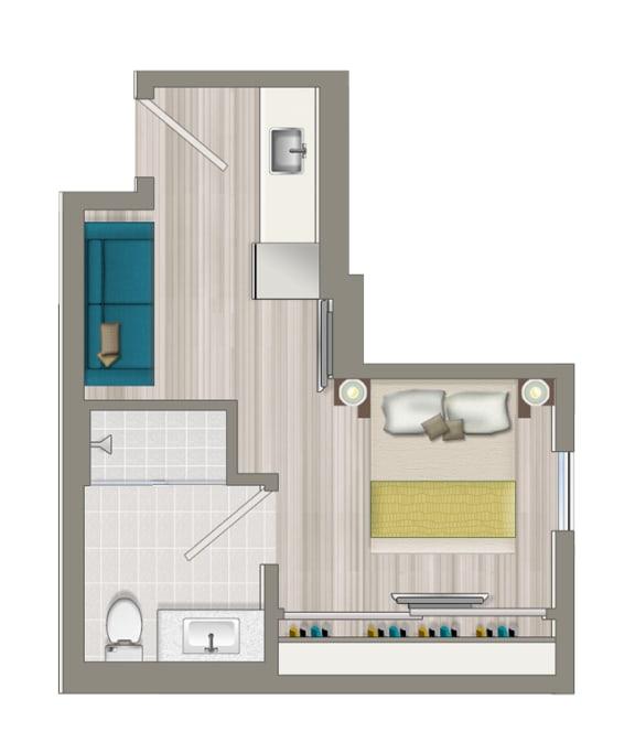 Floor Plan  Furnished Studio Boutique Suite EB3