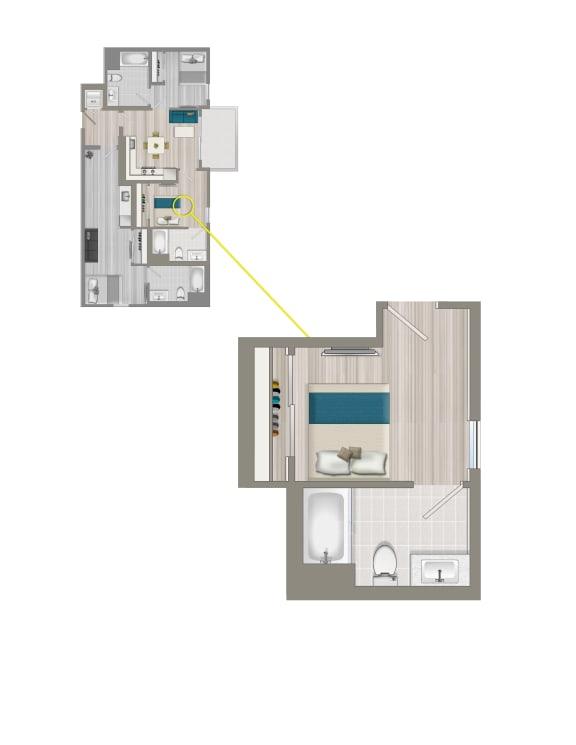 Floor Plan  Furnished Co-Living Master Suite EC2B