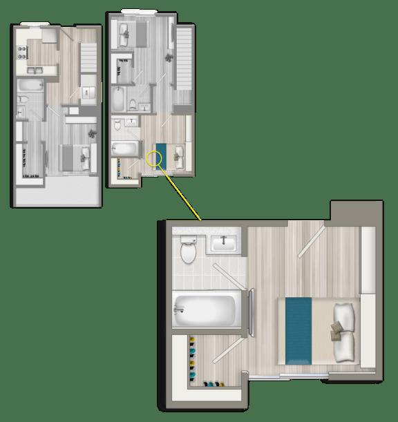 Floor Plan  Furnished Co-Living Master Studio Suite B