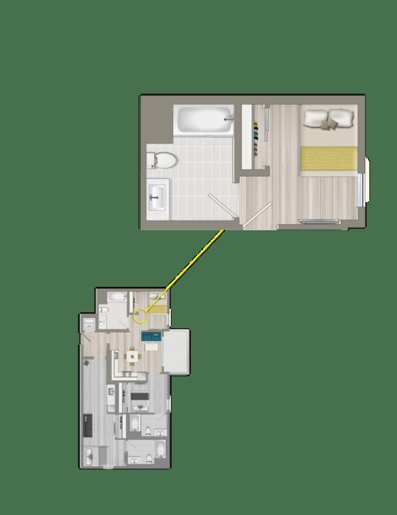 Floor Plan  Furnished Co-Living Master Suite EC2A