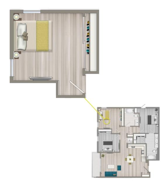 Floor Plan  Furnished Co-Living Studio Suite 882C