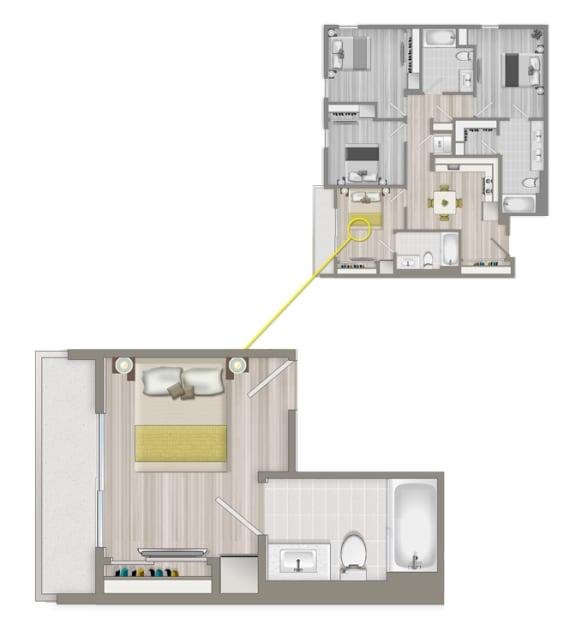 Floor Plan  Furnished Co-Living Master Suite 882A