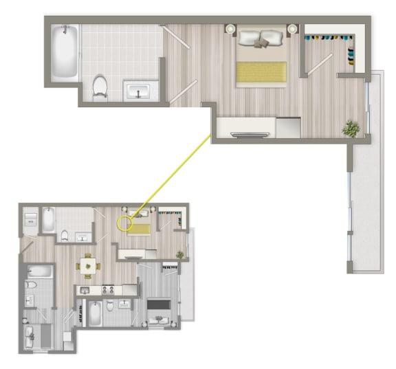 Floor Plan  Furnished Co-Living Master Suite 884A