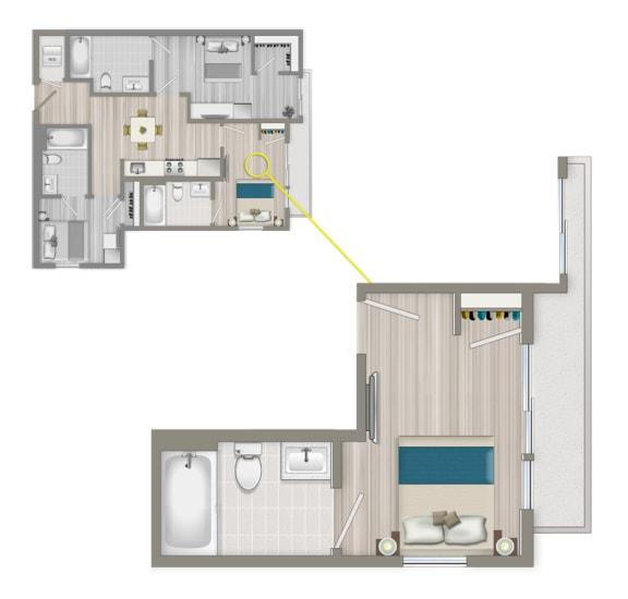 Floor Plan  Furnished Co-Living Master Suite 884B