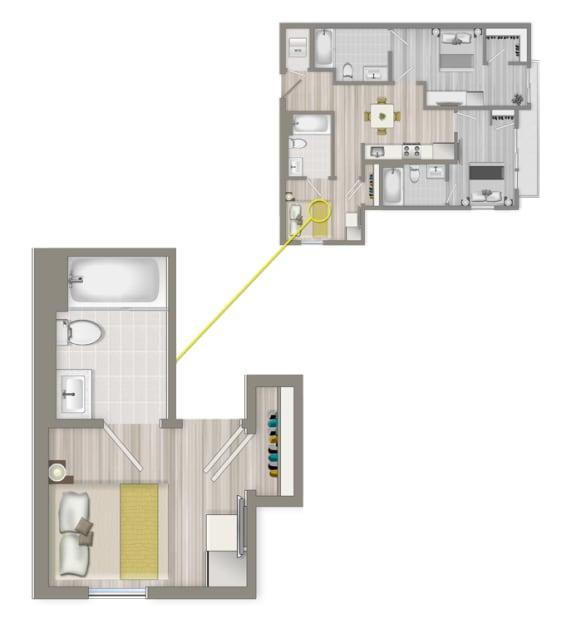 Floor Plan  Furnished Co-Living Master Suite 884C