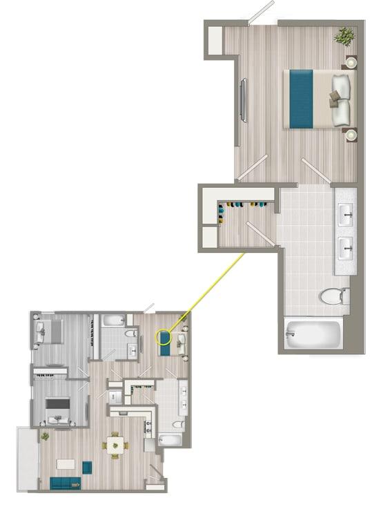 Floor Plan  Furnished Co-Living Master Suite 88CC