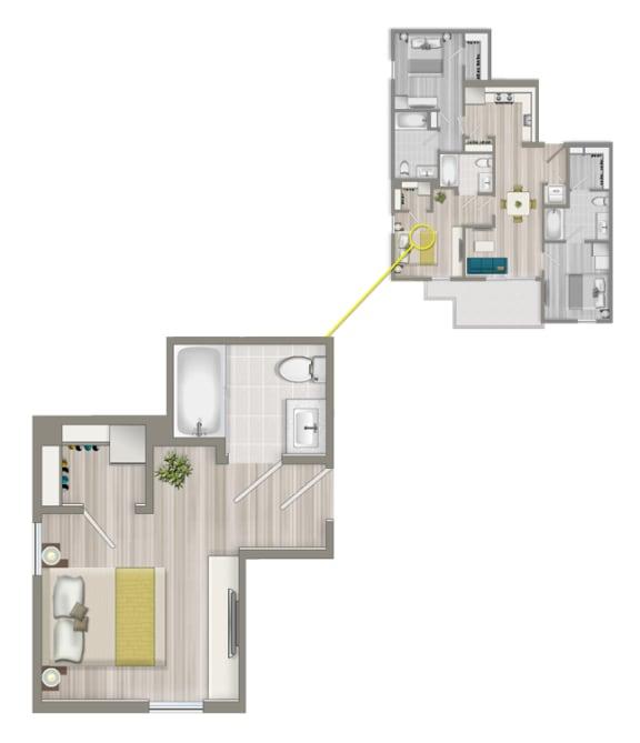 Floor Plan  Furnished Co-Living Master Suite 88CB