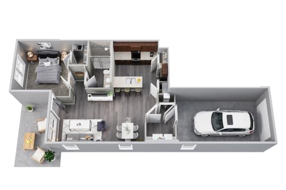 1st Floor, 1 Car Garage, 1 Bedroom, Private Patio