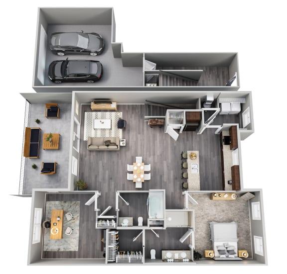 1 Bedroom, Den, 2 Baths, 2 Car Garage, 2nd Floor