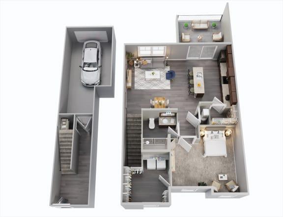 One Bedroom, 2nd Floor, One Car Garage