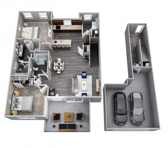 2 Bedrooms, 2 Baths, 2nd Floor, Two Car Garage
