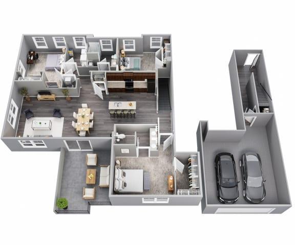 3 Bedrooms, 2 Baths, 2nd Floor, Two Car Garage
