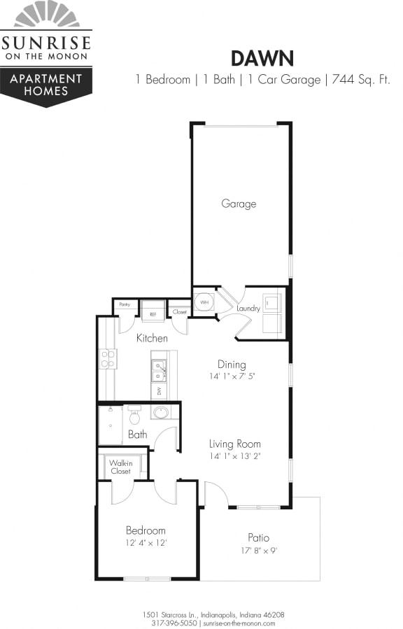 Dawn 1 Bedroom, 1 Bath, 1st Floor, One Car Garage, Private Patio