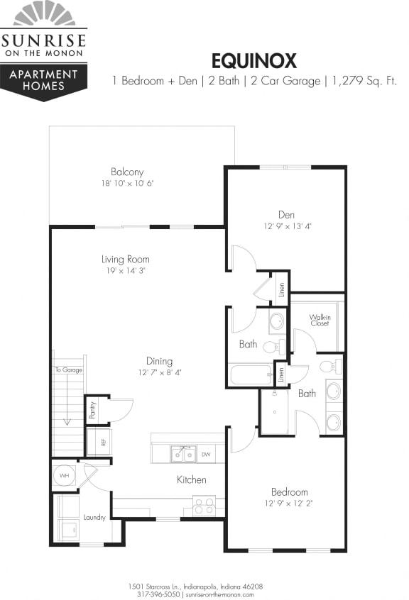 Equinox 1 Bedroom, 2 Baths, Den, 2 Car Garage, 2nd Floor, Private Balcony
