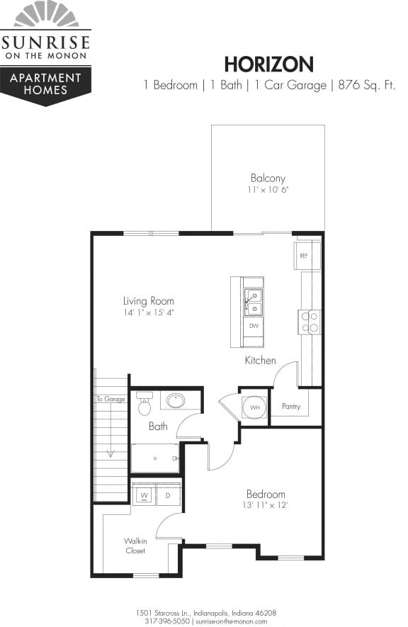 Horizon 1 Bedroom, 1 Bath, 2nd Floor, 1 Car Garage