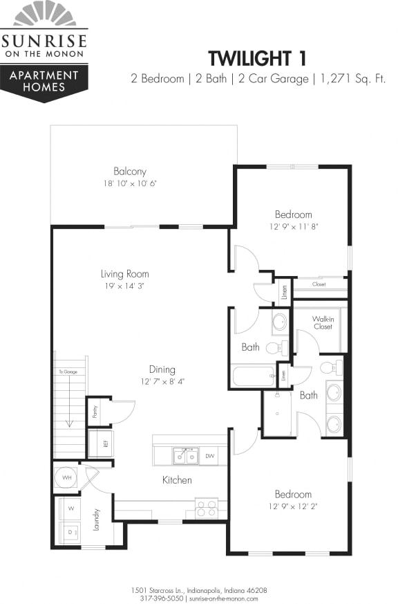 Twilight I- 2 Bedroom, 2 Bath, 2nd Floor, Two Car Garage, Additional Windows, and Extended Balcony