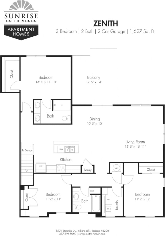 Zenith- 3 Bedrooms, 2 Baths, 2nd Floor, Two Car Garage