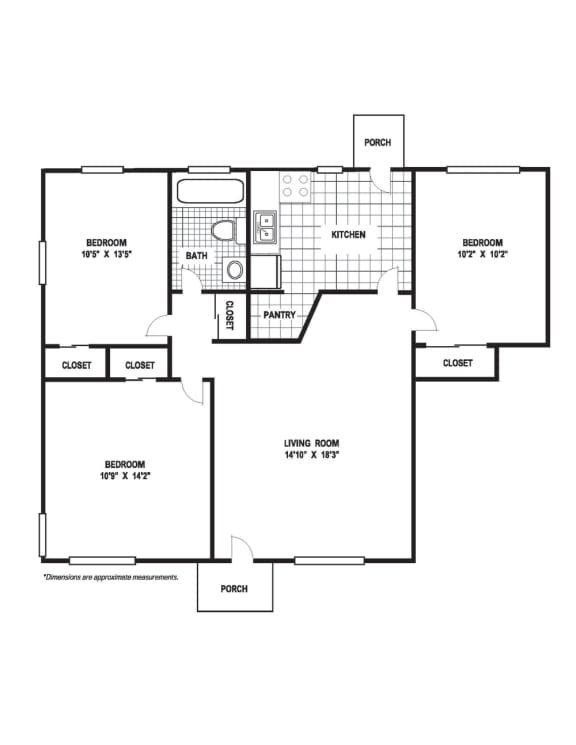 Floor Plan  3 Bedroom 1 Bath B