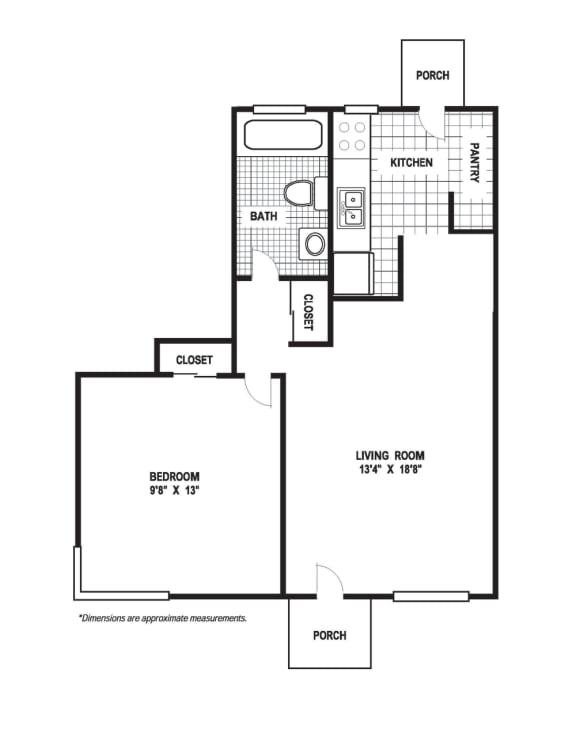 Floor Plan  1 Bedroom 1 Bath A