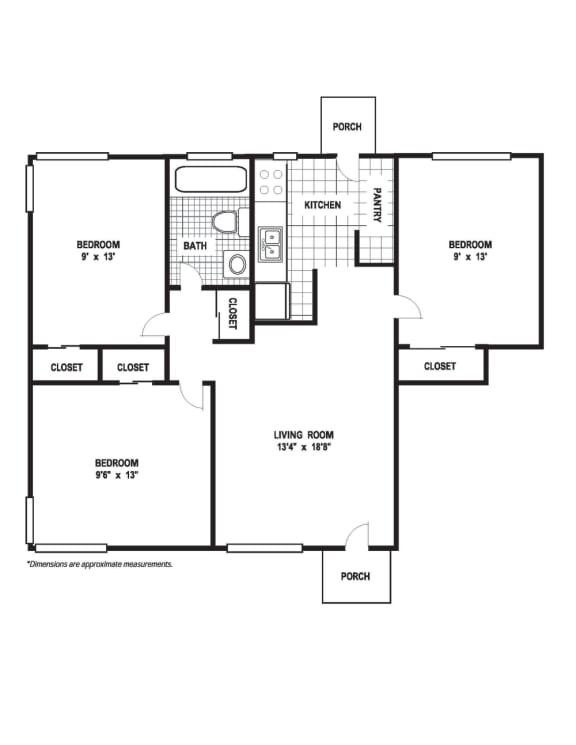 Floor Plan  3 Bedroom 1 Bath A