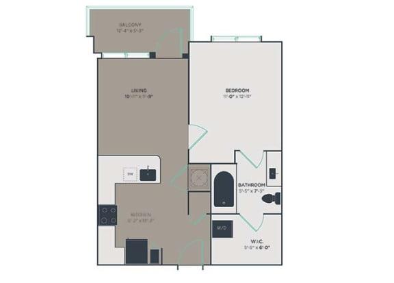A1 1 Bed 1 Bath Floor Plan at Link Apartments® Montford, Charlotte