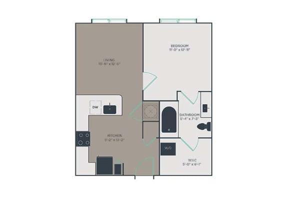 A2 1 Bed 1 Bath Floor Plan at Link Apartments® Montford, North Carolina, 28209