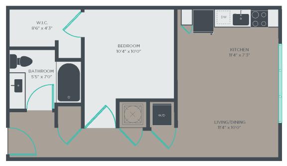 A2 Floor Plan at Link Apartments® Linden, Chapel Hill, North Carolina