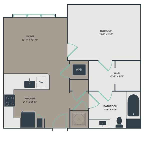 A3 1 Bed 1 Bath Floor Plan at Link Apartments® Montford, North Carolina, 28209