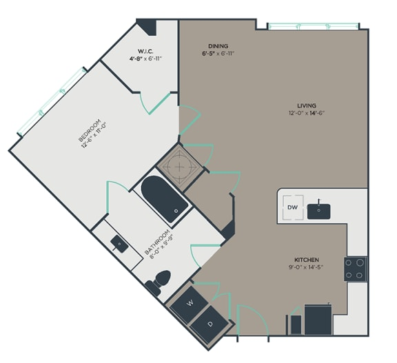 A4_A 1 Bed 1 Bath Floor Plan at Link Apartments® Montford, Charlotte, 28209