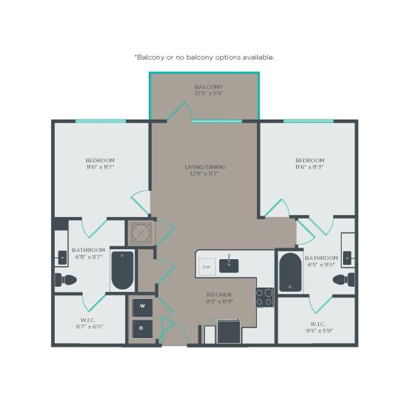 B1 Floor Plan at Link Apartments® Linden, North Carolina, 27517