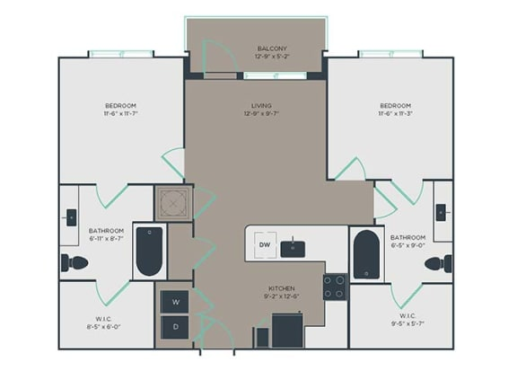 B1 2 Bed 2 Bath Floor Plan at Link Apartments® Montford, North Carolina