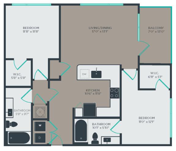 B2 Floor Plan at Link Apartments® Linden, Chapel Hill, NC
