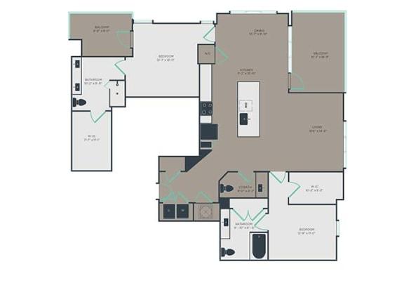 B5 2 Bed 2.5 Bath Floor Plan at Link Apartments® Montford, Charlotte, 28209
