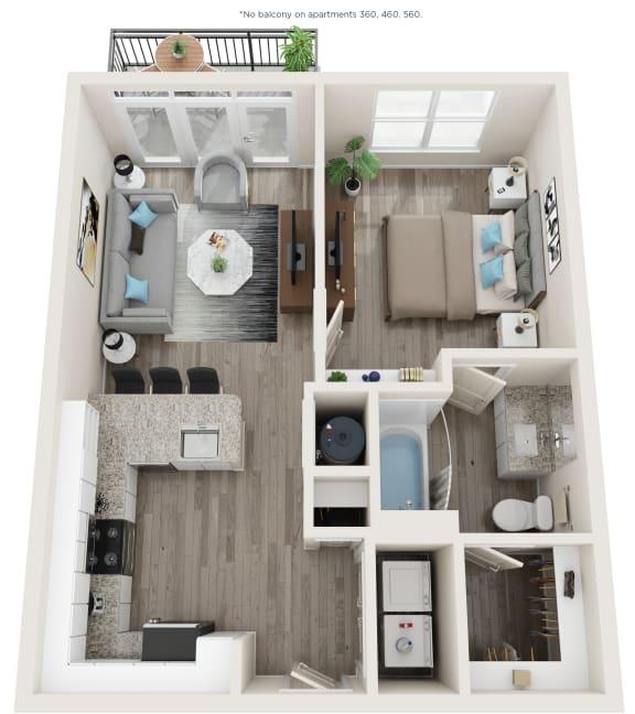 A3 Floor Plan at Link Apartments® Linden, Chapel Hill, North Carolina