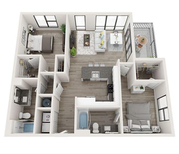 Floor Plan  B4 Floor Plan at Link Apartments® Montford, North Carolina