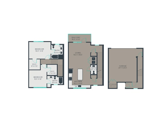 TH 2 Bed 2.5 Bath Floor Plan at Link Apartments® Grant Park, Atlanta, GA