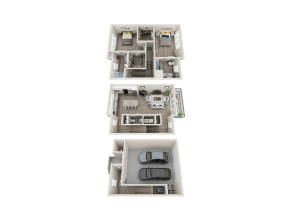 TH 2 Bed 2.5 Bath 1570 Sqft Floor Plan at Link Apartments® Grant Park, Atlanta, GA, 30312
