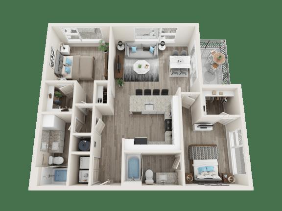 Floor Plan  B2 Floor Plan at Link Apartments® Linden, North Carolina