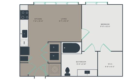 S2_A 1 Bed 1 Bath Floor Plan at Link Apartments® Montford, North Carolina