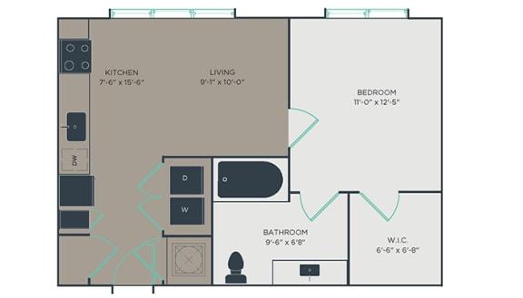 S2 1 Bed 1 Bath Floor Plan at Link Apartments® Montford, Charlotte